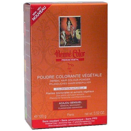 Poudre Coloration Végétale Acajou Sensuel Henné Color - Boite de 100 g