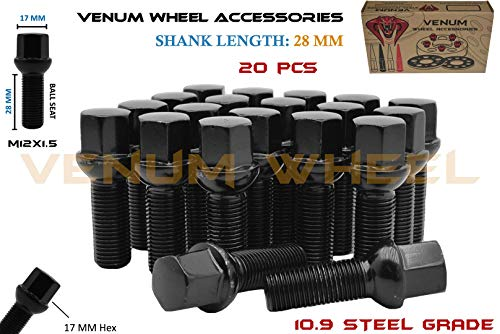 Complete Set of 20 Pc Black Powder Coated Conical Seat Lug Bolts 28 mm Factory Shank Length M14x1.5 Works With Volkswagen Audi BMW Mercedes Benz Porsche Vehicle W// Aftermarket Wheels