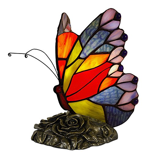 World Art TW60004 Lampes Style Tiffany Papillon, 22x13,5x16,5 Cm