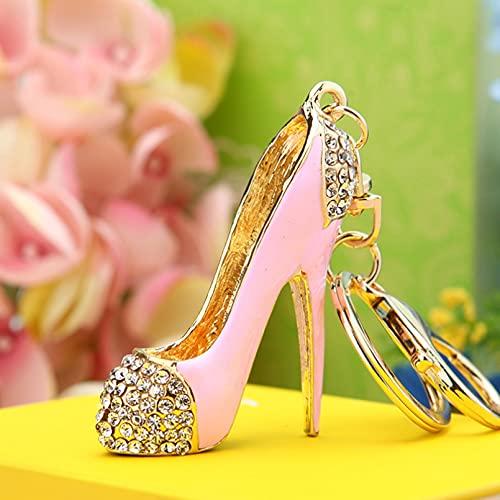 MINTUAN Sexy Llavero de tacón Alto Bolso de Cristal de Diamantes de imitación Llavero de Coche Zapatos Bolso Encantador Llavero de Cadena