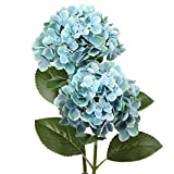 Artificial Blue Hydrangeas Tall Artificial Hydrangea Stems 24.8' Faux Hydrangea Silk Flowers Fake Hydrangea Resuable for Party,Home,Office Decor, Artificial Flower Perfect for Wedding Decor Gift-2PCS