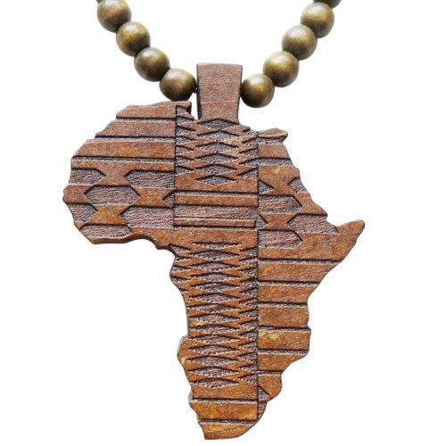 Hanessa Braun Damen u. Herren Schmuck.Africa Perlen Halskette, Land-Karte Afrika aus Holz Geschenk für die Frau/Freundin/Mann