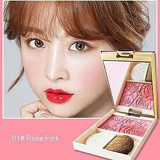 Cosmetic Luxury 3 Color Rose Blusher Palette Sleek Cheeks Contour Matte Orange Baked Blush Powder With Brush Mirror