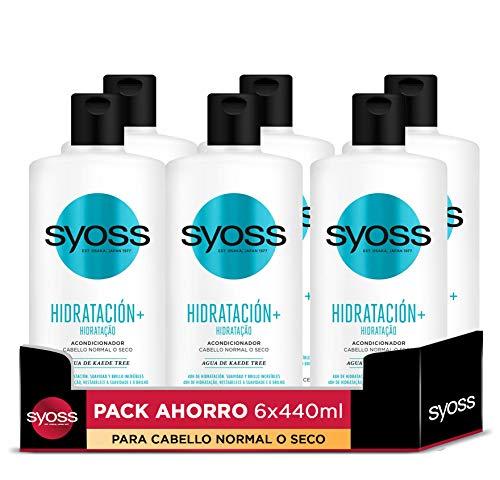 Syoss - Acondicionador Hidratación+ - 6uds de 440Ml (2.640ml) – Para cabello normal o seco – Proporciona suavidad, movimiento y brillo – Cabello como recién salido de la peluquería