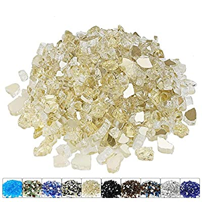 Hisencn 1/2 Inch Gold Reflective Fire Glass for Fire Pit, High Luster Blended Tempered Glass Rocks for Outdoors and Indoors Natural or Propane Fireplaces, Fire pits,Fire Bowls, 10 Pounds