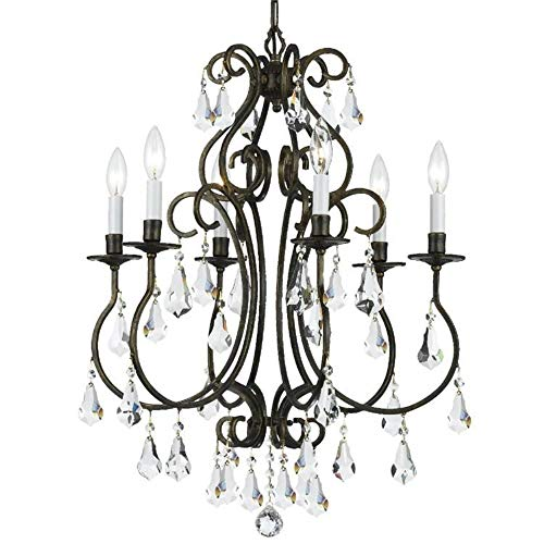 Crystorama 5016-EB-CL-S Ashton EX - Six Light Chandelier, English Bronze Finish with Clear Swarovski Strass Crystal