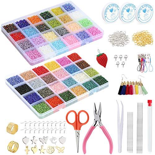 Tundi Schmuck Herstellung Set, 57600 Stücke Glas Perlen Set, Mini Schmuck Perlen mit Schmuckzangen, Pinzette, Biegerringe, Schmuckfaden und Andere Werkzeuge für Schmuckherstellung, DIY Handwerk