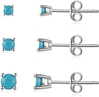 Sterling Silver Stud Earrings for Men Women Girls- Hypoallergenic Tiny Turquoise Stud Earring Set 2mm 3mm 4mm White Gold Plated Round Prong-Set Birthstone Small Earrings