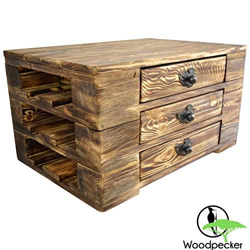 Woodpecker Palettenmöbel Stil Paletten Kommode Couchtisch Lowboard Gartentisch aus Holz mit 3 Schubladen, Blattgriffe in geflammt 67x47x37 cm universelle Verwendung Handarbeit