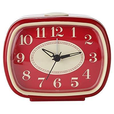 Lily's Home Quiet Non-ticking Silent Quartz Vintage/Retro Inspired Analog Alarm Clock