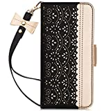 WWW Galaxy Note 10+ Plus Case/Galaxy Note 10+ Plus 5G Case, [Luxurious Romantic Carved Flower] Leather Wallet Case with [Makeup Mirror] [Kickstand Feature] Galaxy Note 10+ Plus Wallet Case 2019 Black