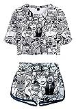 Hifoda Camiseta y Pantalones Cortos My Hero Academia Niña Conjuntos de Ropa Deportiva para Amantes del Anime(M)
