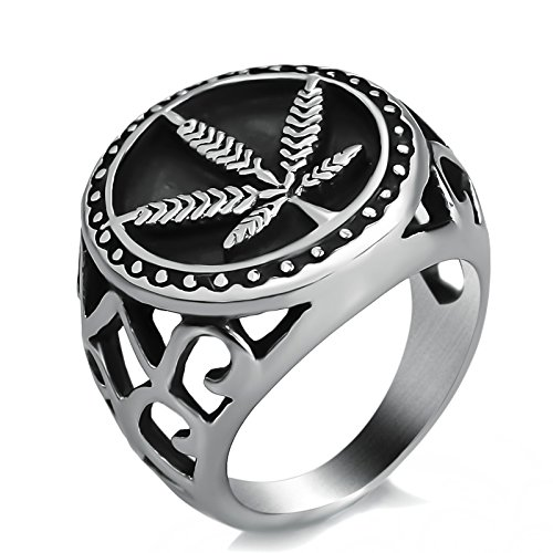 Elfasio mens Stainless Steel Ring Weed Marijuana Cannabis Leaf Symbol Jewelry Size 13 13