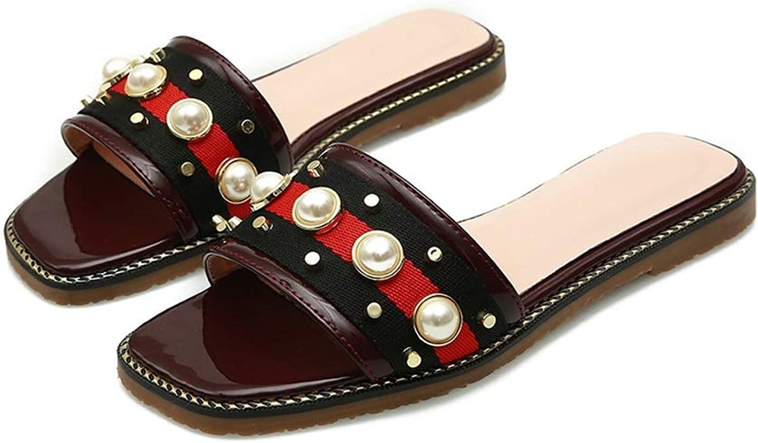 Ailj Women's Summer Sandals, Pearl Female Sandals Large Size Slippers Open Toe Beach shoes Red