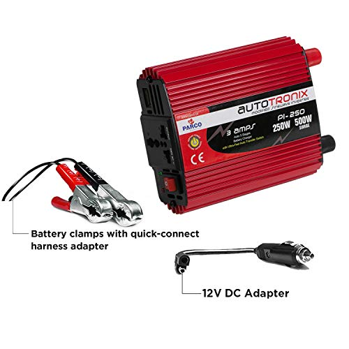 PARCO 250W Car Power Inverter DC 12V to 220V AC Car Converter, Universal AC Socket with 3.0 1A USB Fast Charger for Mobile Laptop Gaming Console