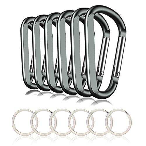 """CampTek 3"""" Aluminum Carabineer Keychain Clip with Keyring, Light Durable D Shape Nonlocking Carabineer Hook Buckle for Outdoor Camping EDC Key Chain Ring, Grey, 6 Piece"""