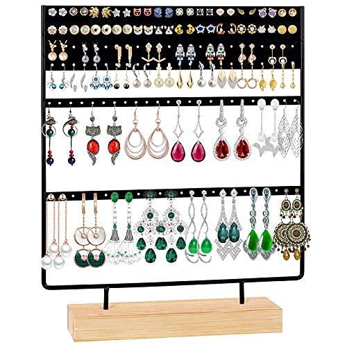 Organizador de pendientes con soporte para joyas, soporte de madera, 144 agujeros para pendientes
