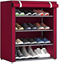 BUCKETLIST® 5 Tier 4 Grids Shoe Cabinet Tower Storage Organizer Storage Furniture/Shoe Cabinets/Shoe Rack Stand with Waterproof Fabric Dustproof Cover, 60 x 30 x 70cm (Red)