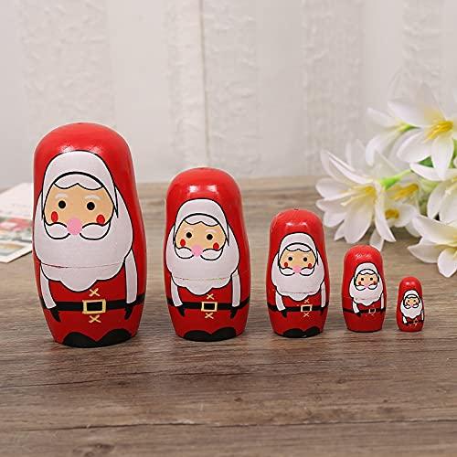 QIFFIY Muñecas de anidación de Navidad Papá Noel tradicional Matryoshka 1 juego de muñecas rusas de madera de anidación de animales de pintura hecha a mano decoración tradicional (color: estilo uno)