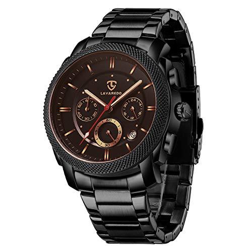 Reloj Hombre, Reloj Militar Analogico Cronógrafo Moderno Reloj Pulsera Movimiento de Cuarzo Reloj de Acero Inoxidable para Hombres con Fecha - Negro