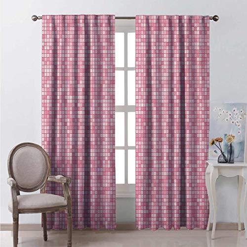 Toopeek - Cortinas opacas para dormitorio, color rosa y blanco, diseño de cuadros, color rosa
