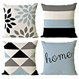 YeeJu Set of 4 Geometric Decorative Throw Pillow Covers Cotton Linen Square Cushion Covers Outdoor Couch Sofa Home Pillow Cases 12x12 Inch