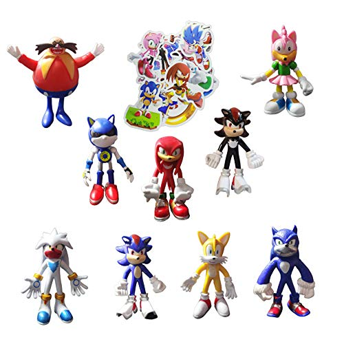 XINSHENG Sonic juguetes 9 unids/set Sonic juguetes Sonic Figure Boom Rare Dr Eggman PVC Modelo Juguete Sonic Shadow Tails Personajes Regalo para Niños