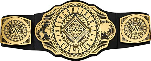 WWE Intercontinental Championship Title Belt Featuring Authentic Styling, Metallic Medallions, Leather-Like Belt & Adjustable Feature That Fits Waists of Kids 8 and Up (GWV55)