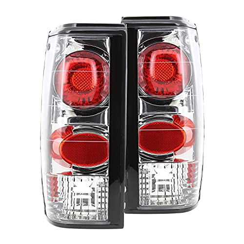 Spec-D Tuning Chrome Housing Clear Lens Tail Lights for 1982-1993 Chevy S10/ GMC S15 Sonoma Pick-Up Taillights Assembly Left + Right Pair