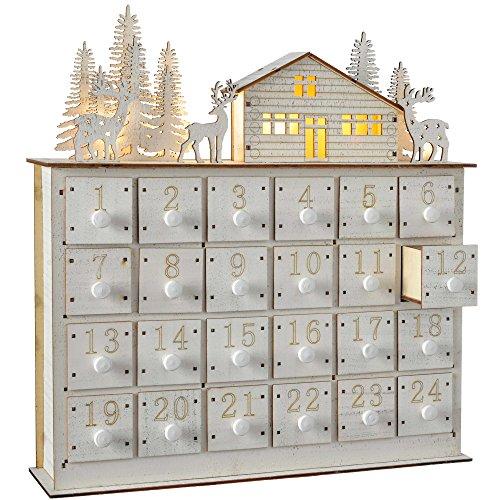 WeRChristmas–Casa Escena Calendario de adviento de Navidad, Madera, Blanco, 32cm