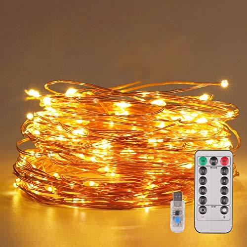LIBILIS® Guirnalda Luces de Hada 20M 200 LED Luces Navidad USB, 8 Modos Cadena de Luces LED de Iluminación con Control Remoto para Fiestas, Navidad, bodas,día de San Valentín, Jardín, Patio