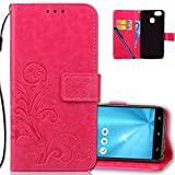 COTDINFORCA Case for Asus ZenFone 3 Zoom Wallet Case Leather Premium PU Embossed Design Magnetic Closure Protective Cover with Card Slots for Asus ZenFone 3 Zoom (ZE553KL). Luck Clover Rose