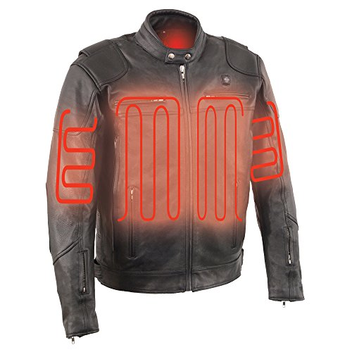 Milwaukee Leather Men's Vented Scooter Jacket with Heated Technology (Black, Medium)