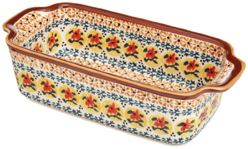 Euroquest Imports Bunzlauer Polish Pottery Loaf Pan in Amber Sunrise Pattern