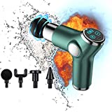 YUSUMA USB Wireless Mini Portable Rechargeable Muscle Massage Gun, 3200 R/min Powerful 16MM Deep Tissue Professional Handheld Massager,LED Display/ 6 Adjustable Modes/32Speed/4Heads/Mute/2000mAh