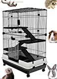 Large Indoor Small Animal Pet Habitat Hutch Cage Playpen Guinea Pig Ferret Chinchilla Rabbit Bunny Cat Kitten With Solid Platform and Ramp, Leakproof Litter Tray (0.9-Inch Wire Spacing, 4-Floor)
