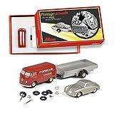 Schuco 450557900 Piccolo Montagekasten Porsche Renndienst, 3er Montagekasten mit Piccolo VW T1, Porsche 356 Abarth & Anhänger, Modellauto, limitierte Auflage