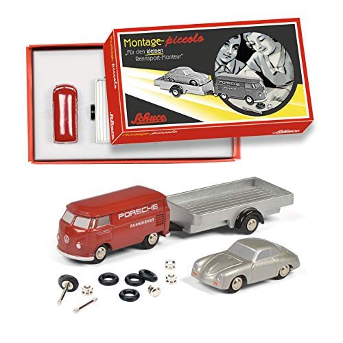 Schuco Caja Renndienst, 3 Cajas de Montaje con Piccolo VW T1, Porsche 356 Abarth & Remolque, edición Limitada (450557900)