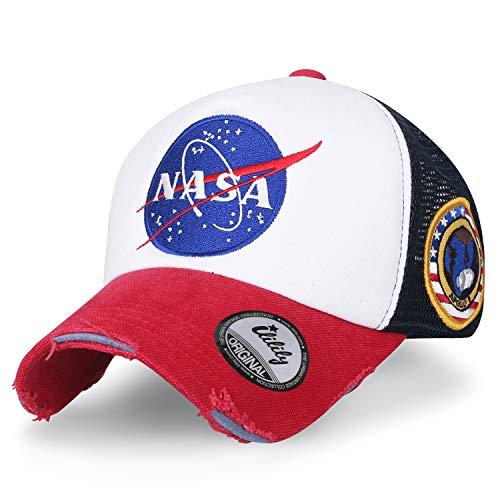ililily NASA Meatball abgebildet im Logo Stickerei Baseball Cap Apollo 1 Flicken Trucker Cap Hut (XL, Red & White_XL)