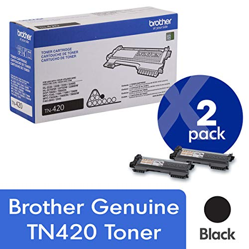 Brother Genuine TN420 2-Pack Standard Yield Black Toner Cartridge with approximately 1,200 page yield/cartridge