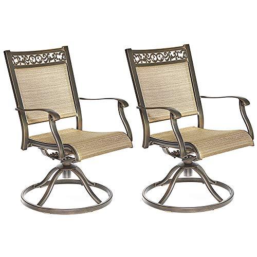 Dali Swivel Rocker Chair, Cast Aluminum All-Weather Comfort Club Arm Patio Dining Chair 2 Pc