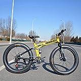 Dapang Bicicleta de montaña Plegable de 24', 7/21/24/27/30 Velocidad, Doble suspensión, 4.0 Pulgadas, llanta Ancha, Bicicleta para Ciclismo sobre Nieve, montañas, Caminos, Playas, etc,Yellow,27speed