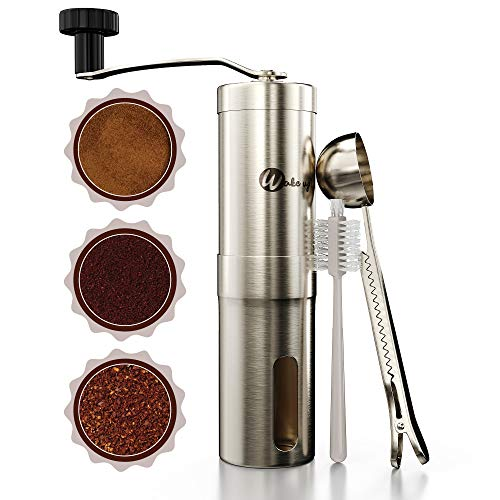 Wakeup! Hand Crank Coffee Bean Grinder with Adjustable Settings for Home, Travel and Camping – Stainless Steel Conical Espresso Mill with Ceramic Burrs Includes Scoop Clip and Cleaning Brush