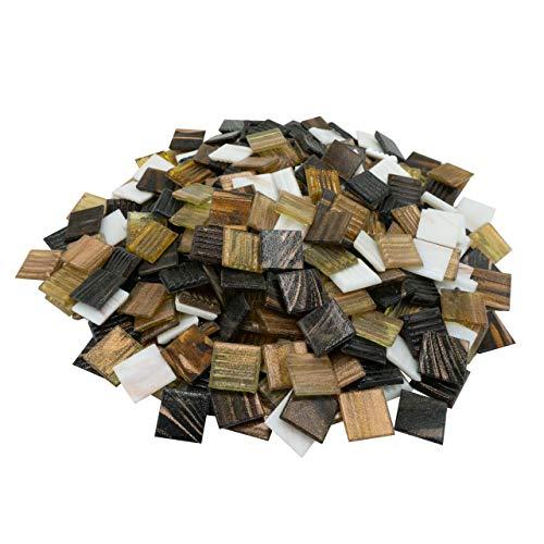 mosamare Mosaiksteine Kupferschimmer (2x2 cm, 900g, ca. 340 St.) - buntes Mosaik ideal zum Basteln - Glasmosaik - Keine Kunststoffverpackung (Kupfer Gold Mix)