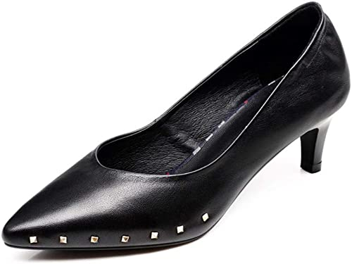 AJUNR Femmes Loisirs Le Printemps du Style 5 Cm Talons Hauts Nouveau Style Cuir Chaussures De Travail Moyen De 100 Ensembles des Talons De Chaussures en Cuir