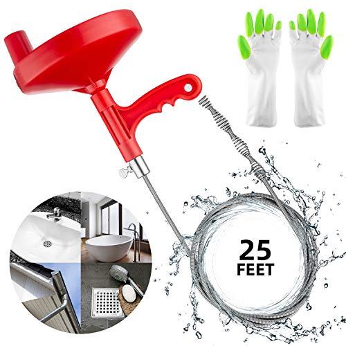 Oriflame 25 Feet Plumbing Snake Drain Auger Sink Snake Pipe Drain Cleaner for Bathroom...