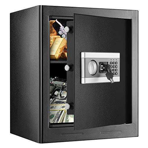 1.53Cub Security Safe Lock Box, Security Home Safe with Digital Keypad, Fireproof Safe & Waterproof Safe, Gun Document Safe Box for Home Office Hotel Business with Emergency Key (1.53Cubic)