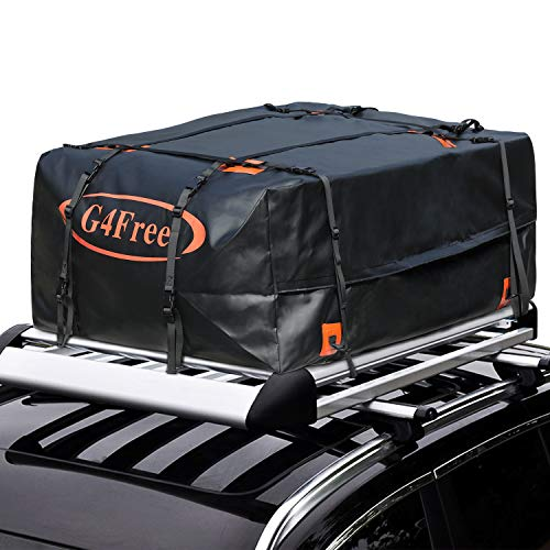 G4Free 18.5 Cubic Feet Car Top Carrier, Easy to Install Soft Roof Top Cargo Bag with Wide Straps-Works with or Without Roof Rack