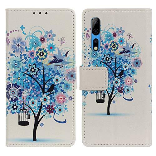 EUDTH ZTE Axon 10 Pro Hülle, Premium PU Leder Tasche Handyhülle Brieftasche Hülle Cover mit Ständer und Kartenfächer Bookstyle Wallet Case Schutzhülle für ZTE Axon 10 Pro/10 Pro 5G -Blauer Baum