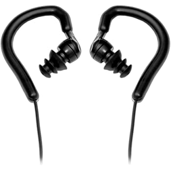 Universal Wired Waterproof Swim Earphone - Marine Grade IPX-7 Flexi Comfortable Over-Ear Style Headphone w/ Water-blocking Plugs 3 Interchangeable Earbuds for Swimming & Water Sports - Pyle PWPE10B